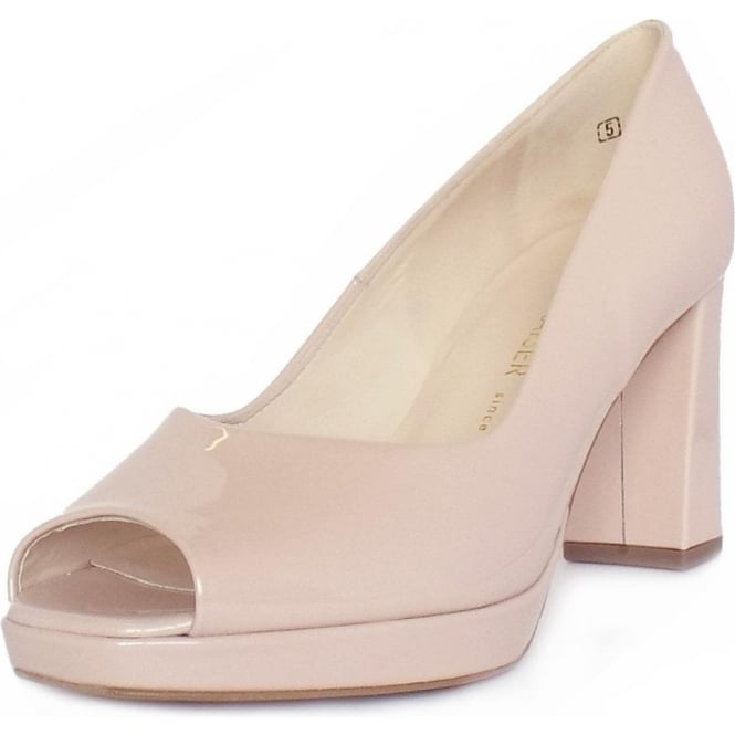 Cooky Rose Pink Pearlised Patent Peep Toe Block Heel Pumps