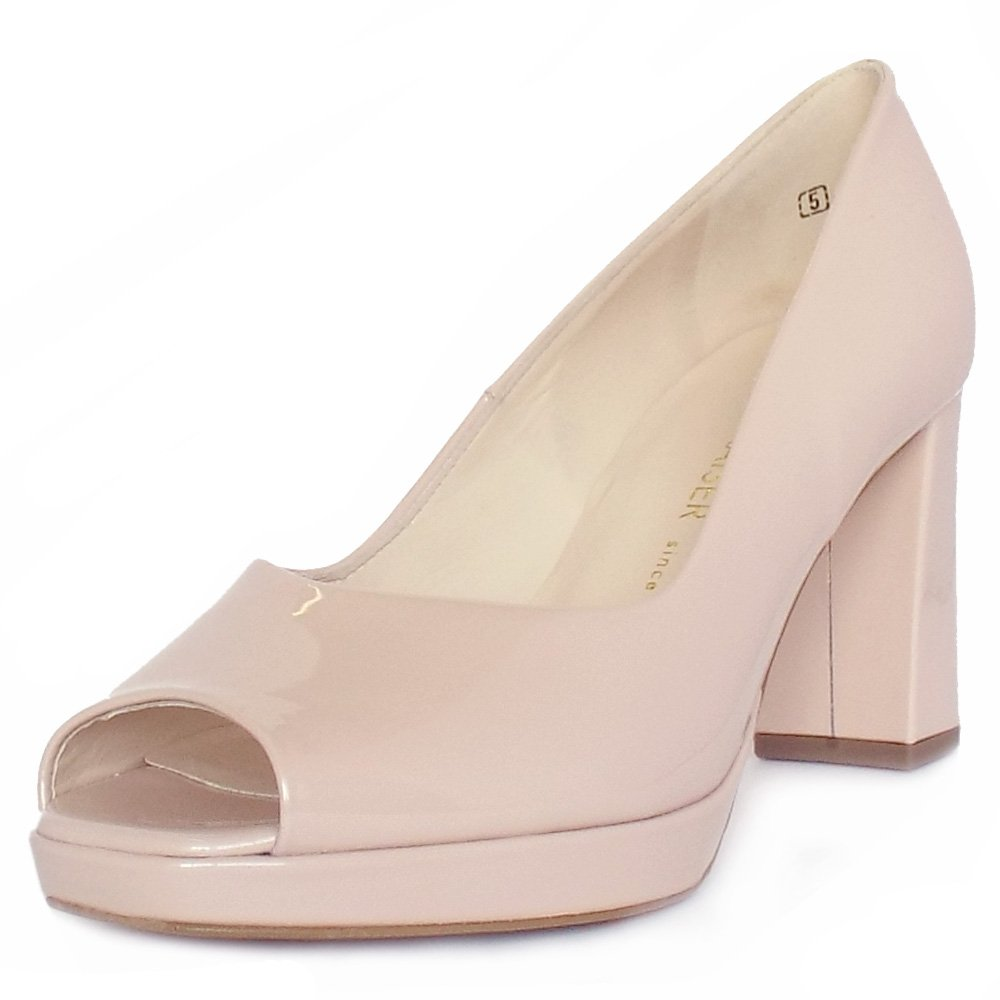 7d8112ce4b9 Peter Kaiser UK | Cooky | Rode Blush Patent Peep Toe Block Heel Pumps