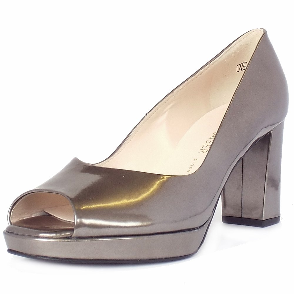 peter kaiser uk cooky pewter metallic peep toe block heel pumps. Black Bedroom Furniture Sets. Home Design Ideas