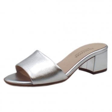 Cosma Low Heel Open Toe Shoes in Silver