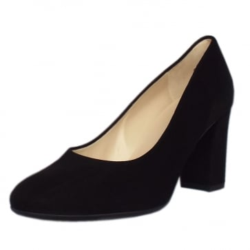 Dalmara Black Suede Block Heel Court Shoes