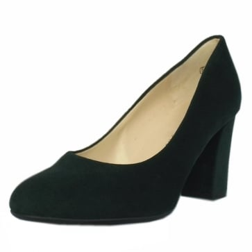 Dalmara Bottle Suede Block Heel Court Shoes