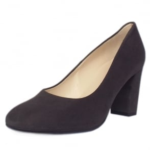 Dalmara Carbon Suede Block Heel Court Shoes
