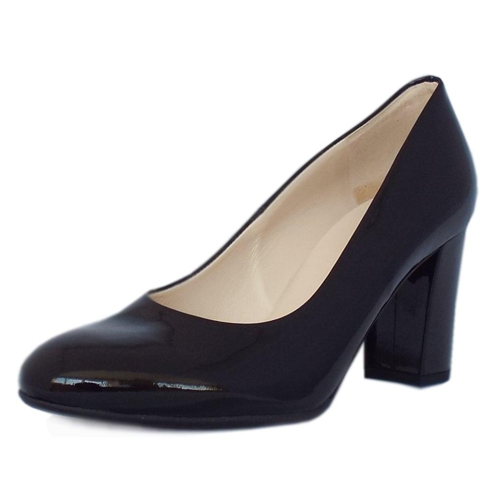 kaiser dalmara black patent block heel court shoes
