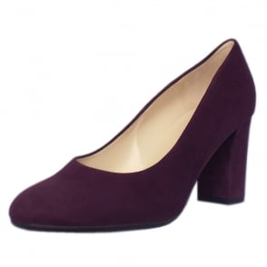 Dalmara Plum Suede Block Heel Court Shoes