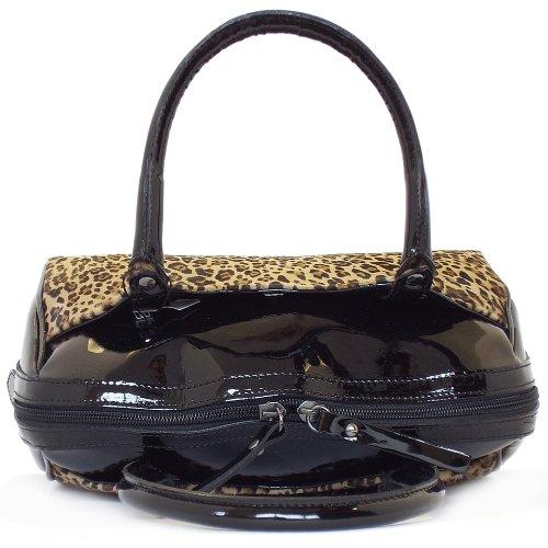 ... Delia Camel Leopard Print And Black Crackle Patent Handbag ... 2f54dc4f129af