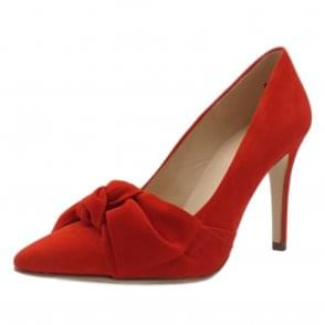 Dilia High Heel Pointed Toe Court Shoes in Coral Red