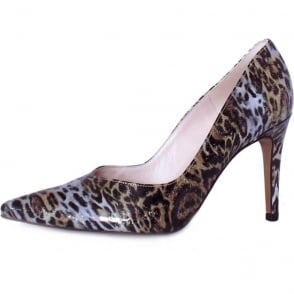 Dione Multi Momba Leopard Print Patent High Heel Shoes
