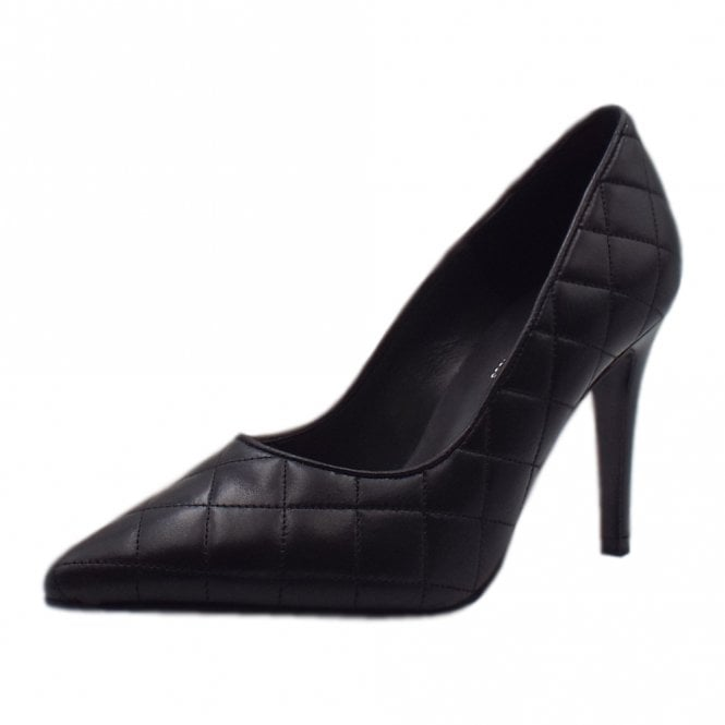 Dolores Quilted Stiletto Court Shoe in Black Glove
