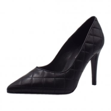 Dolores Stiletto Court Shoe in Black Glove