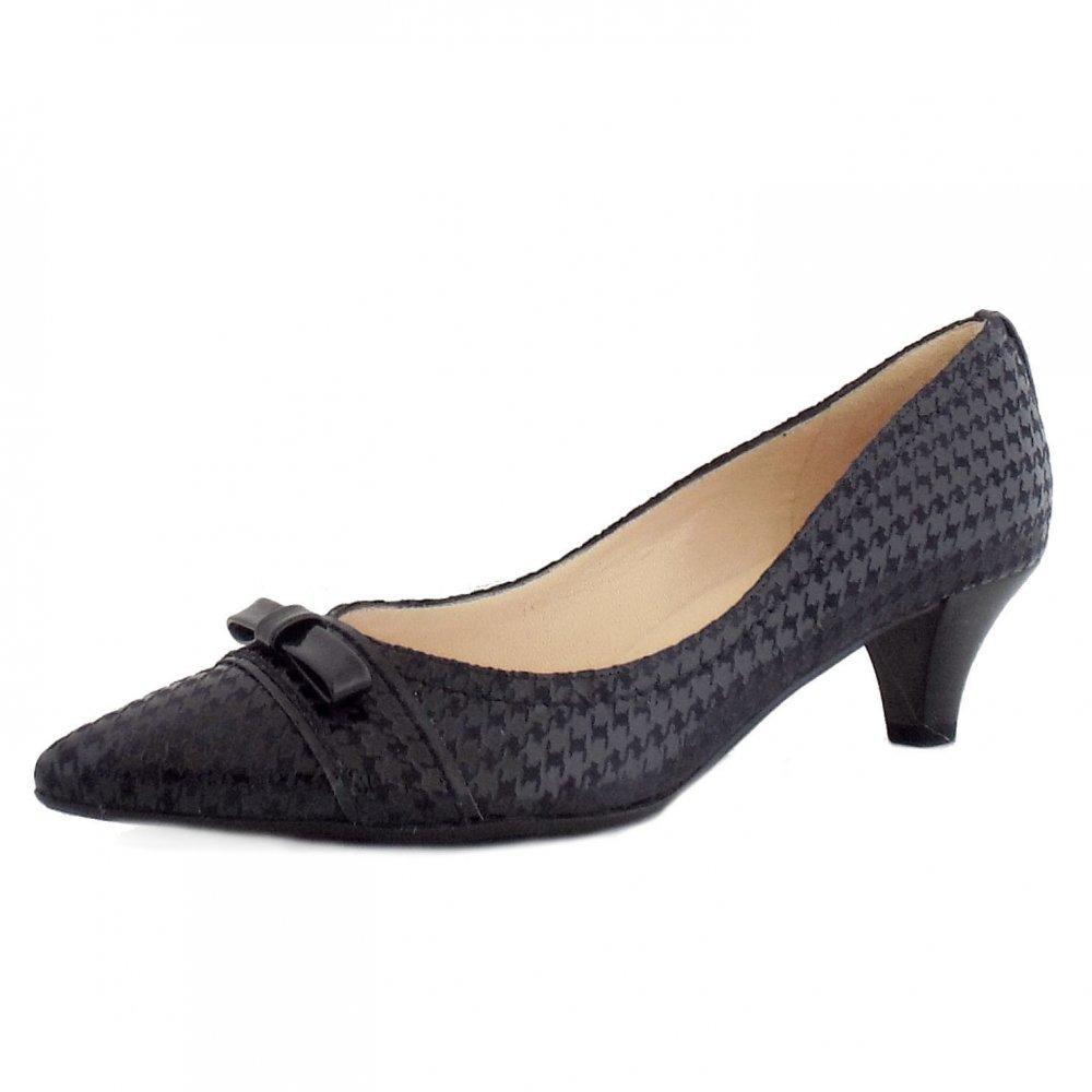 Black Evening Shoes Kitten Heel