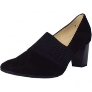 Dorna Black Suede High Top Wide Fit Pumps