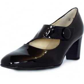 Dorothy Black Crackled Patent Mary-Jane Pumps