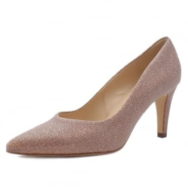 Ebby Stiletto Court Shoe in Powder Shimmer