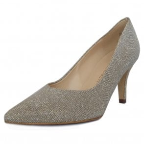 Ebby Stiletto Court Shoe in Sand Shimmer