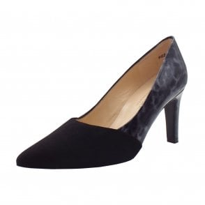 Ekatarina Stylish Leather Court Shoes in Black Suede