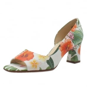 Elana Multi Tropic Open Toe Mid Heel Pumps