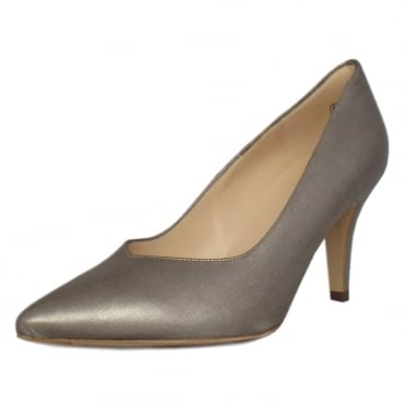 Elektra Dressy Pointy Toe Mid Heel Court Shoes in Taupe Furla