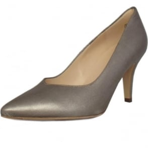 Elektra Taupe Furla Leather Mid Heel Dressy Pumps