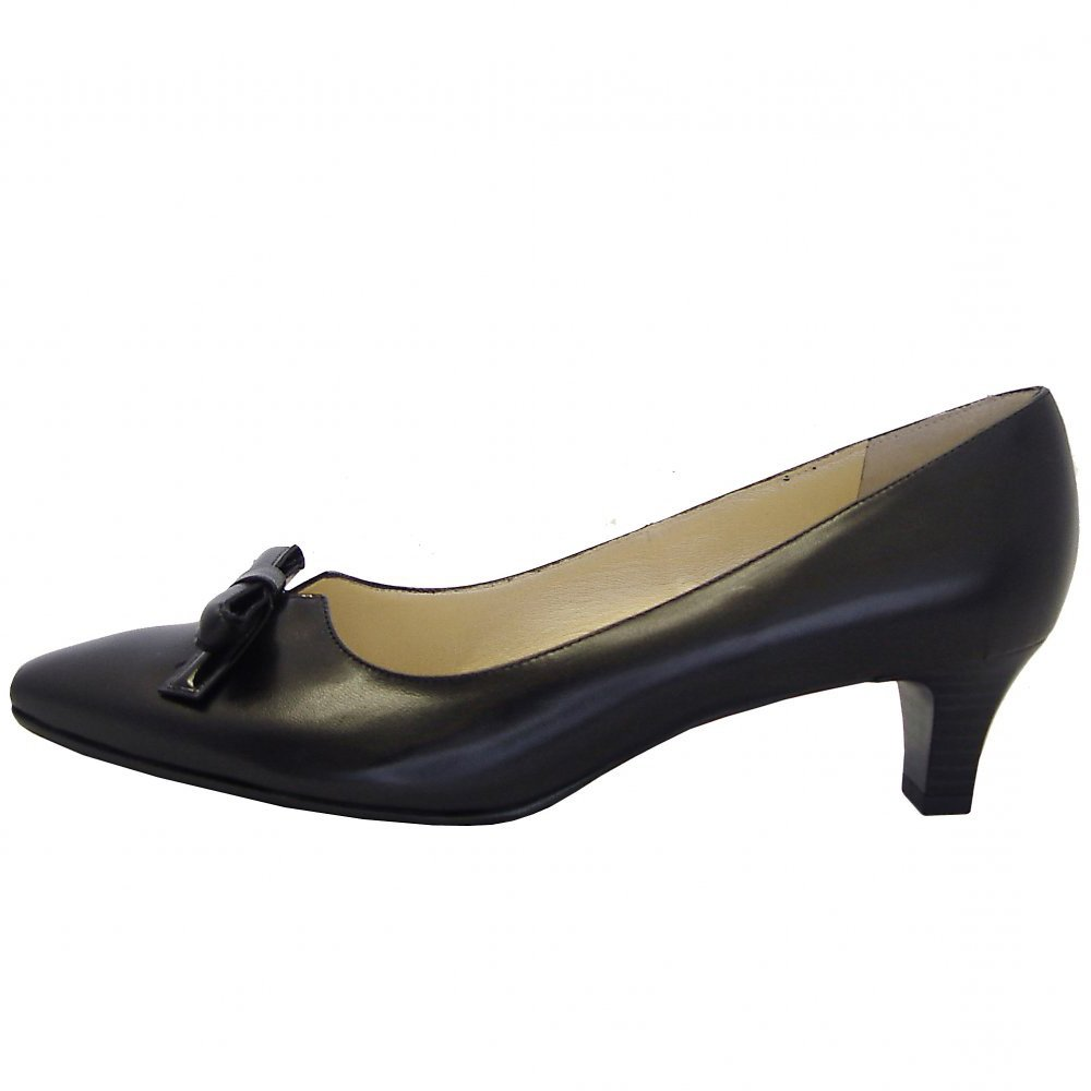 Peter Kaiser Elsie | Black leather semi-pointed toe low heel shoes