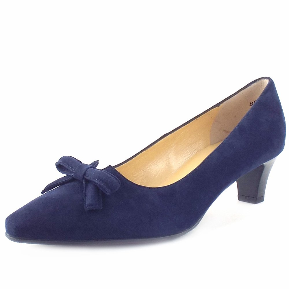 Peter Kaiser UK | Elsie | Notte Navy Suede Kitten Heel Pums With Bow