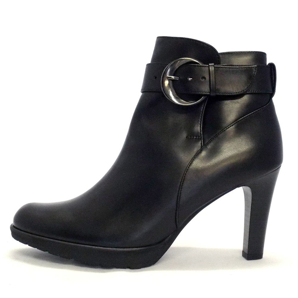 kaiser elta black leather stiletto heel ankle boots