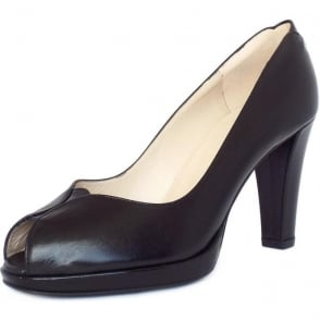 Emilia Black Leather Peep Toe High Heel Pumps
