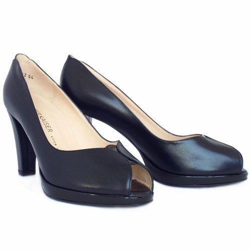 peter kaiser uk emilia navy leather high heel peep toe pumps. Black Bedroom Furniture Sets. Home Design Ideas