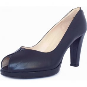 Emilia Navy Leather Peep Toe High Heel Pumps