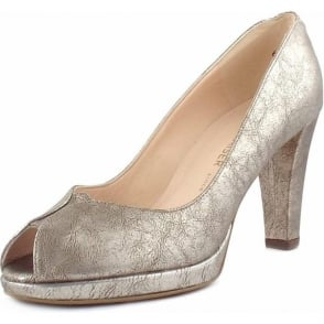 Emilia Taupe Furla Metallic Leather Peep Toe Pumps