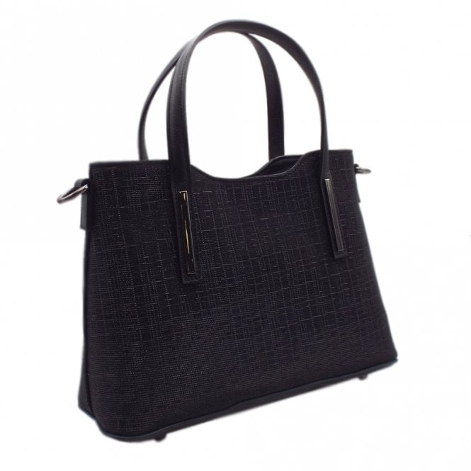 Esidell Black Shimmer and Leather Versatile Bag