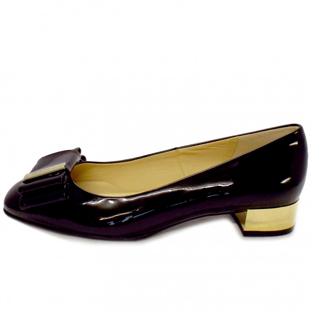 Peter Kaiser Evita | Glossy Black Patent Court Shoes with Gold Heel