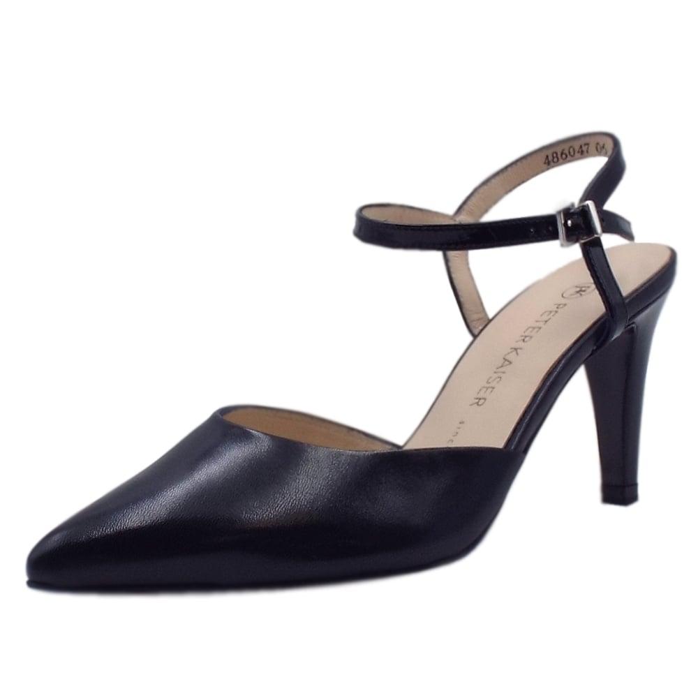 Navy Closed Toe Mid Heel Shoes