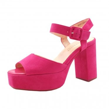Felicia Ankle Strap Platform Sandals in Berry Suede