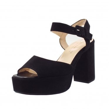 Felicia Ankle Strap Platform Sandals in Black Suede