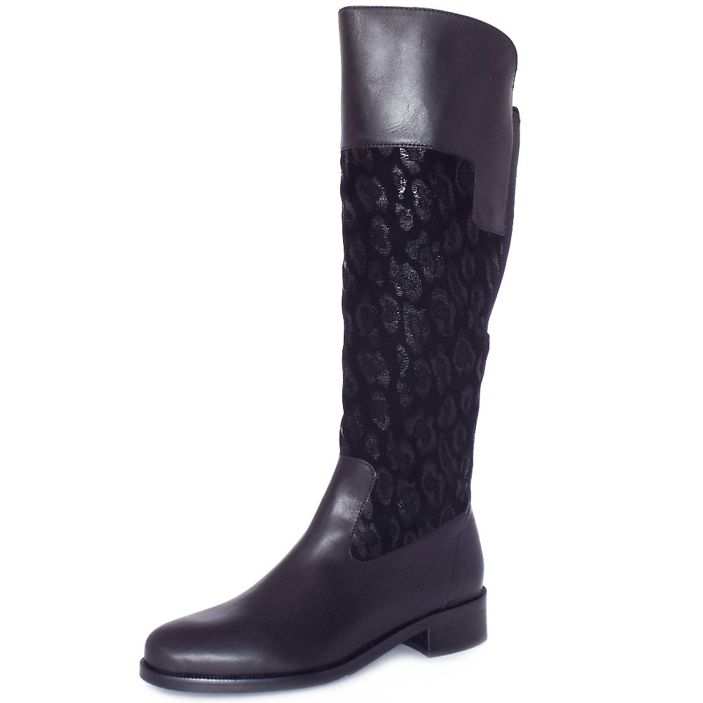 kaiser uk fiora black leather and leopard suede