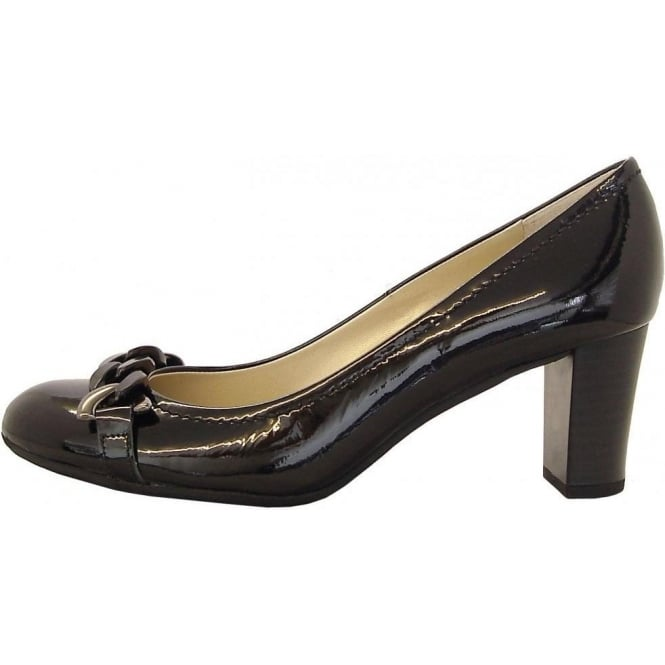 Fita black crackle patent mid heel court shoes