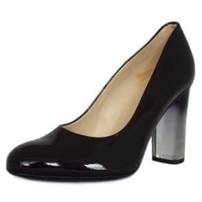 Flademara Black Patent Ombre Block Heel Court Shoes