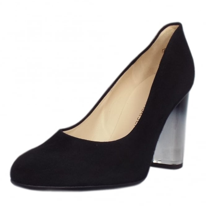 Flademara Black Suede Ombre Block Heel Court Shoes