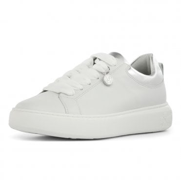 Flora Leather Plus Fit Sneakers in White