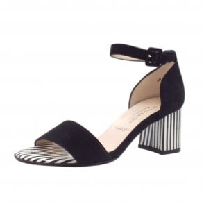 Florentine Ankle Strap Wide Fit Sandals in Black Suede