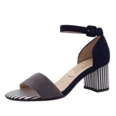Florentine Ankle Strap Wide Fit Sandals in Notte Suede