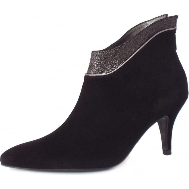 Frina Black Suede and Metallic Leather Ankle Boots