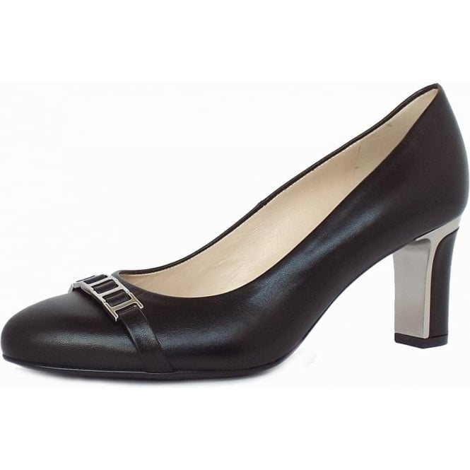 Frisa Black Chevro Mid Heel Pumps with Metal Heel and Link Trim