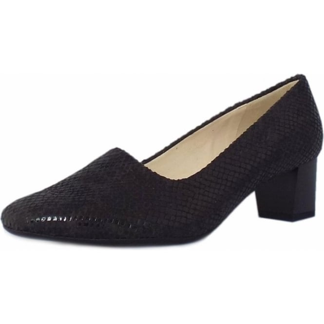 Geneve Black Diano Plus Fit Low Heel Pumps