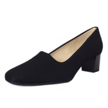 Geneve Black Rombo Plus Fit Low Heel Pumps
