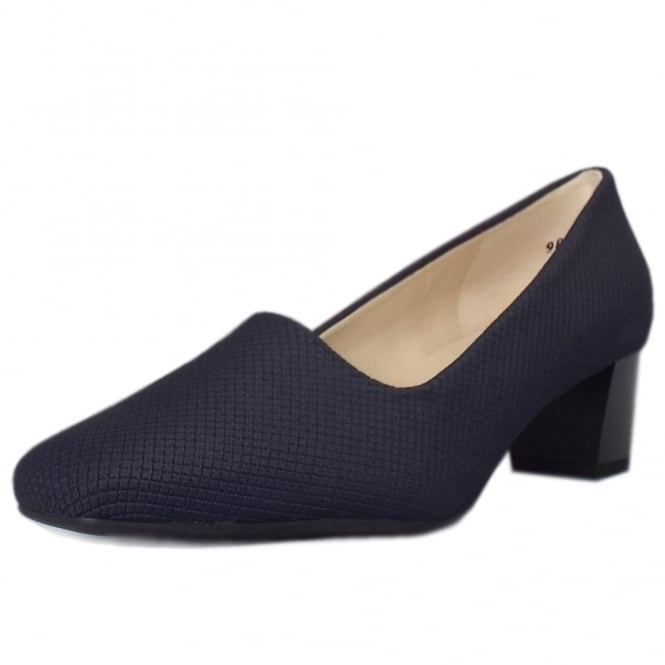 Geneve Classic Low Heel Court Shoes in Navy Rombo