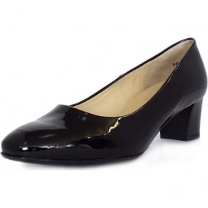 Ghana Black Patent Plus Fit Low Heel Round Toe Pumps