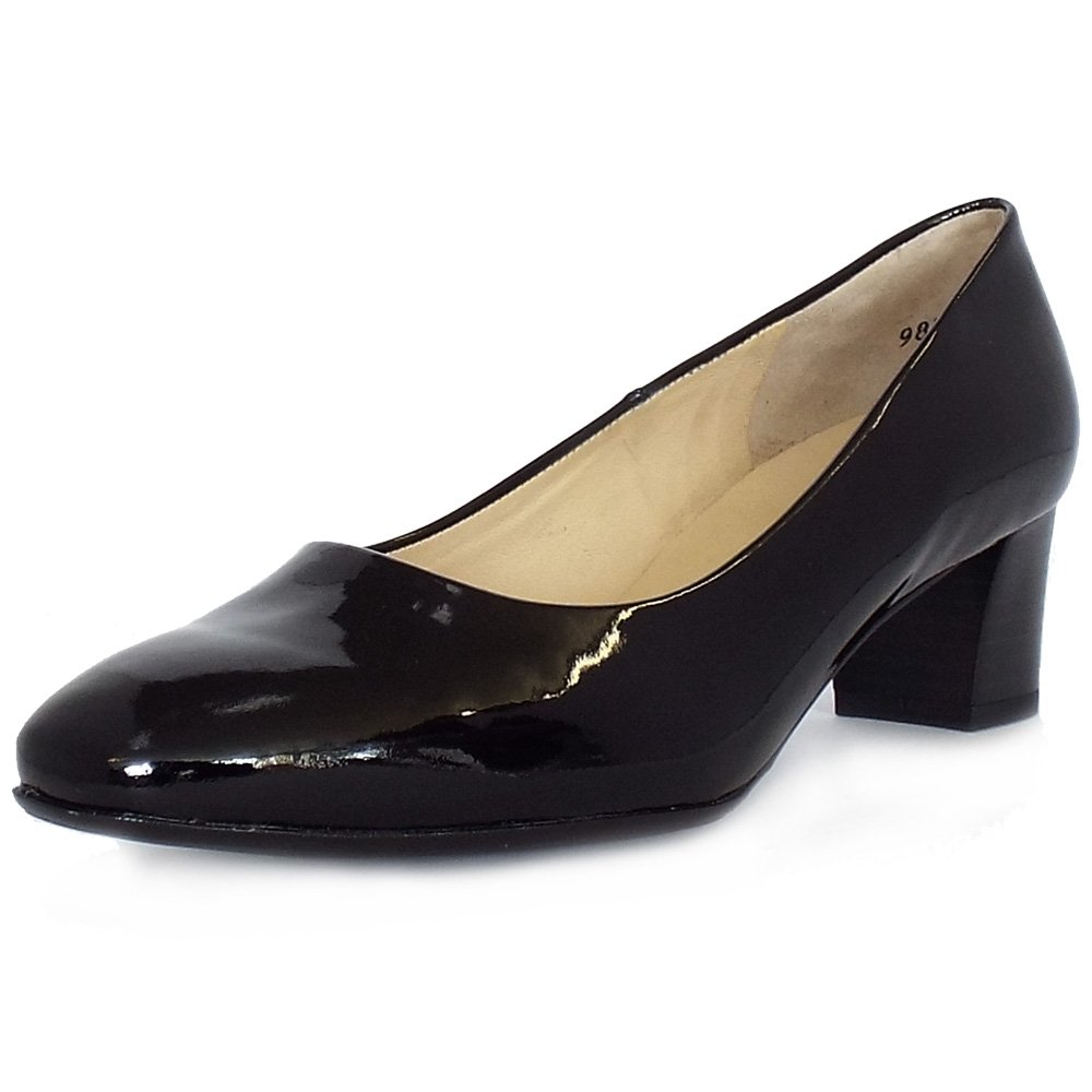 Black Patent Leather Kitten Heeled Court Shoes In