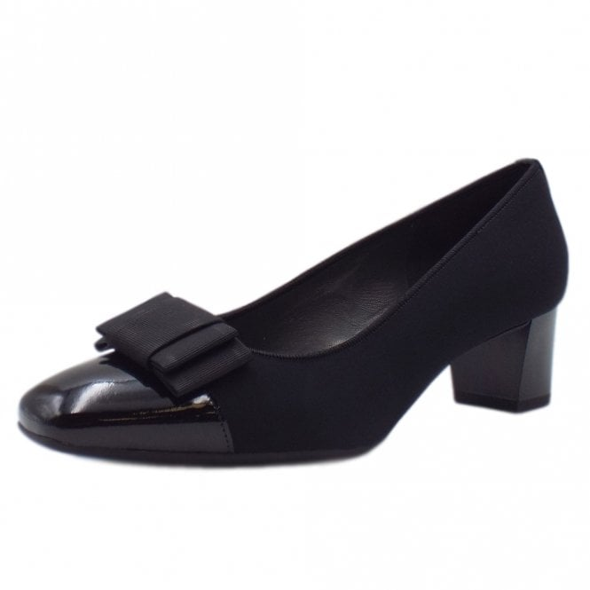Gristina Plus Fit Black Patent Low Heel Pumps with Bow